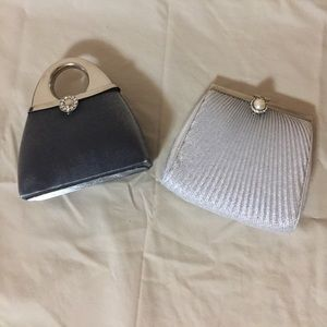 Evening Clutch Purses - Set of 2 - Silver/Grey